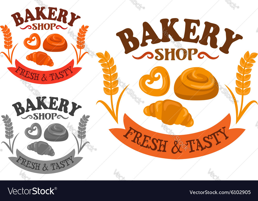 Bakery icon with sweet buns and croissant vector