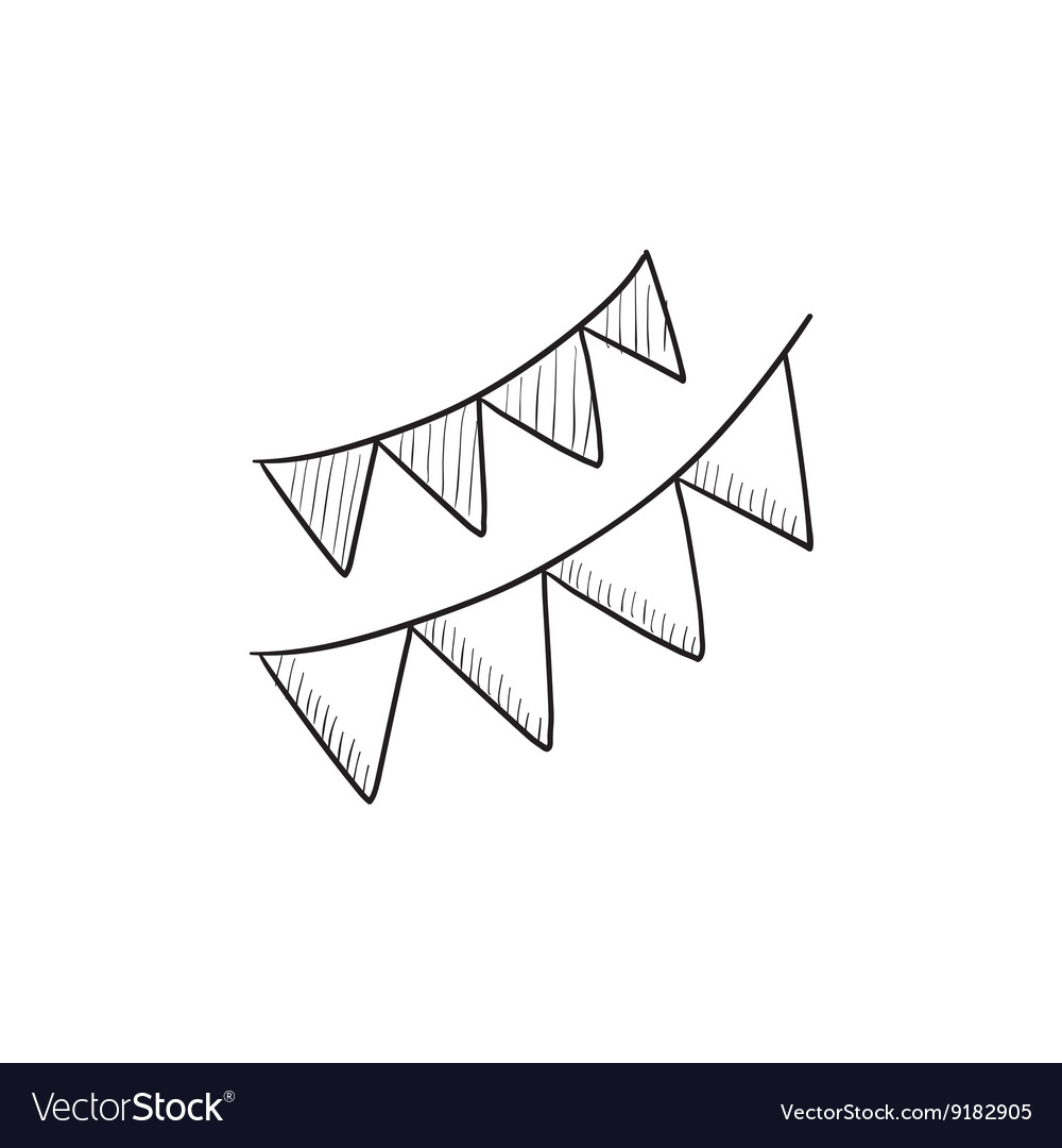 Christmas triangular flags sketch icon vector