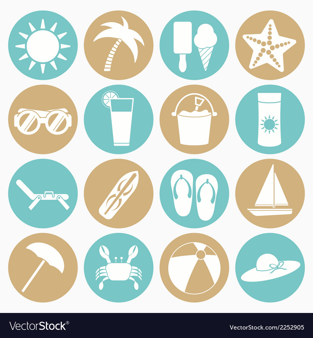 White icons summer beach vector
