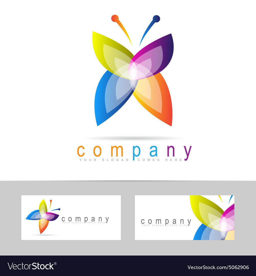 Colored butterfly icon logo vector