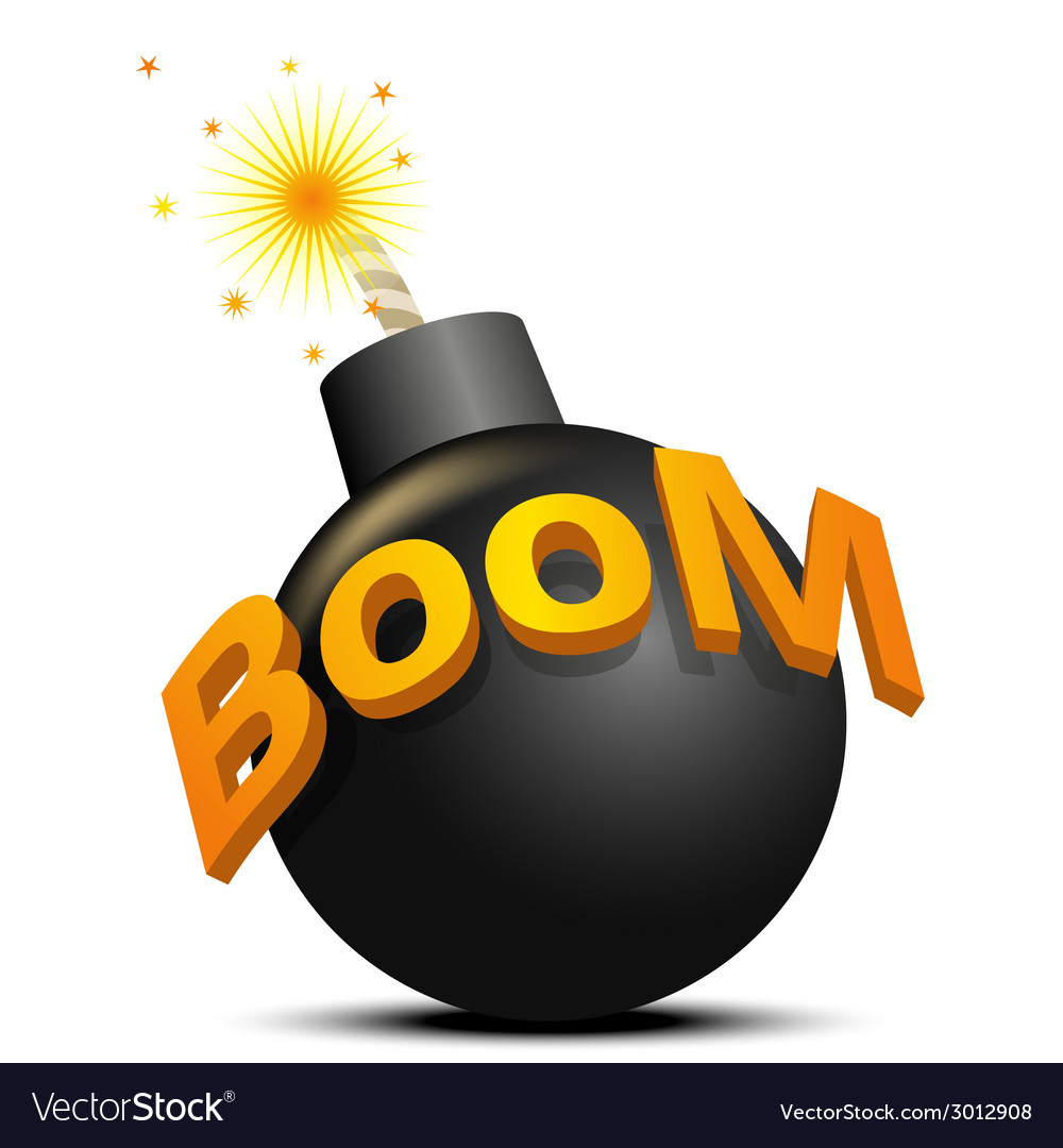 Black bomb ready to explode the on white vector