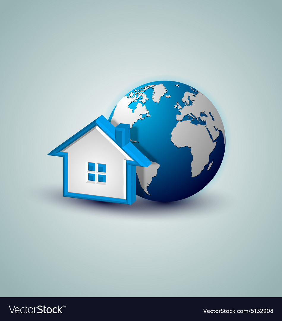 Earth and house icon vector