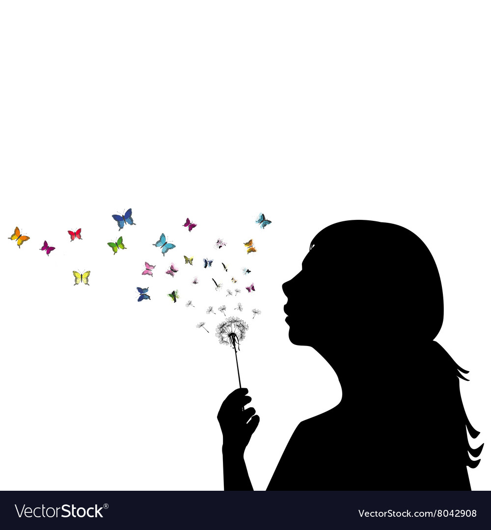 Girl blowing on dandelion vector