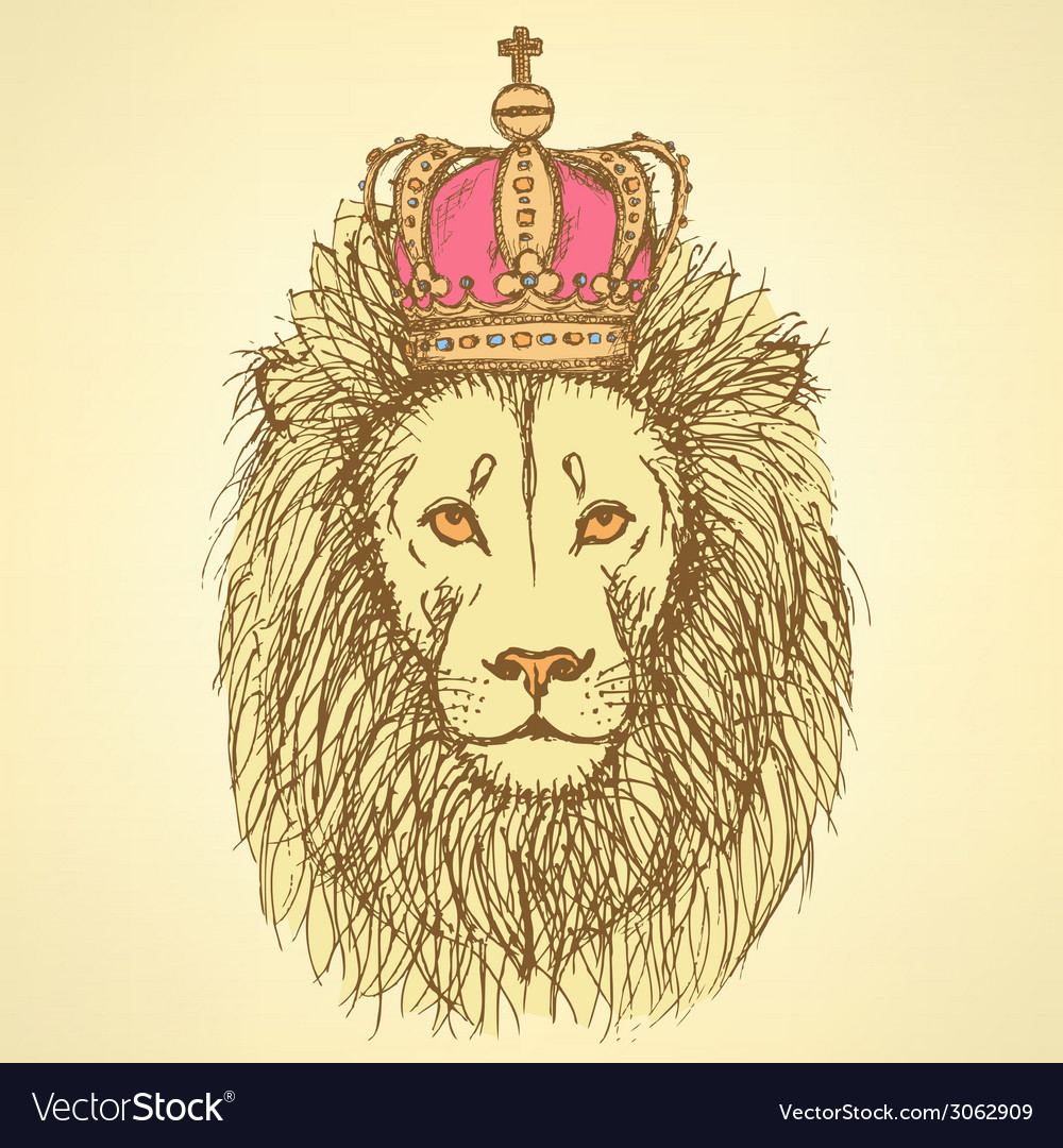 Sketch cute lion with crown in vintage style vector