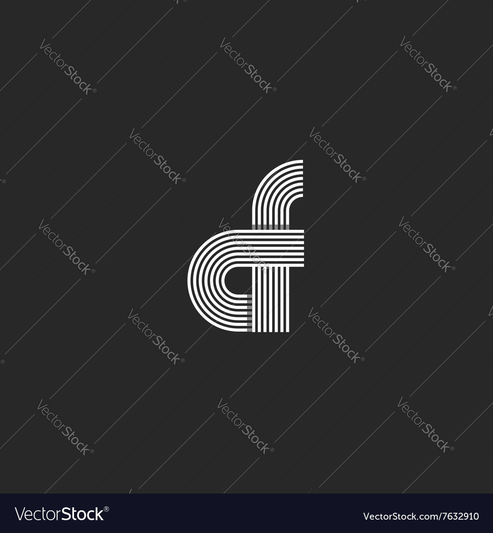 Combination letter cf logo monogram pair c f vector