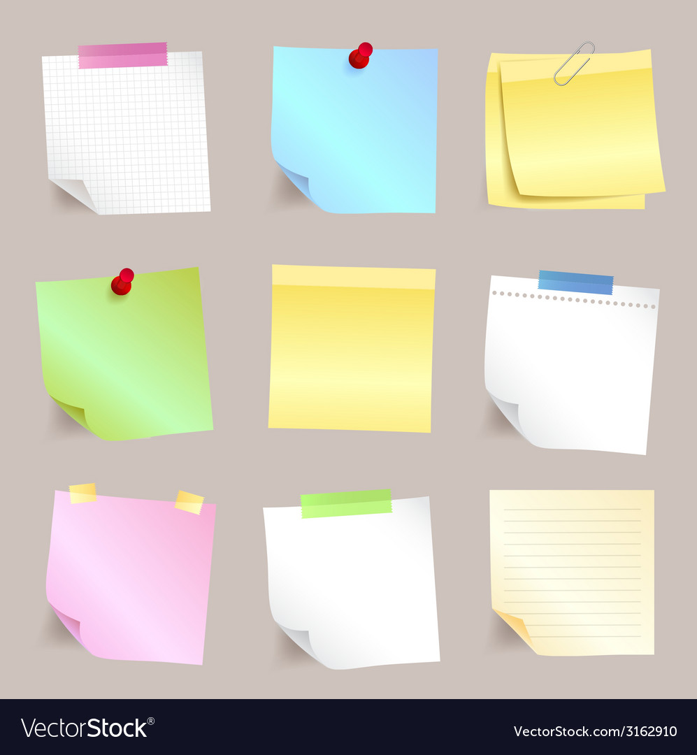Different paper note set vector