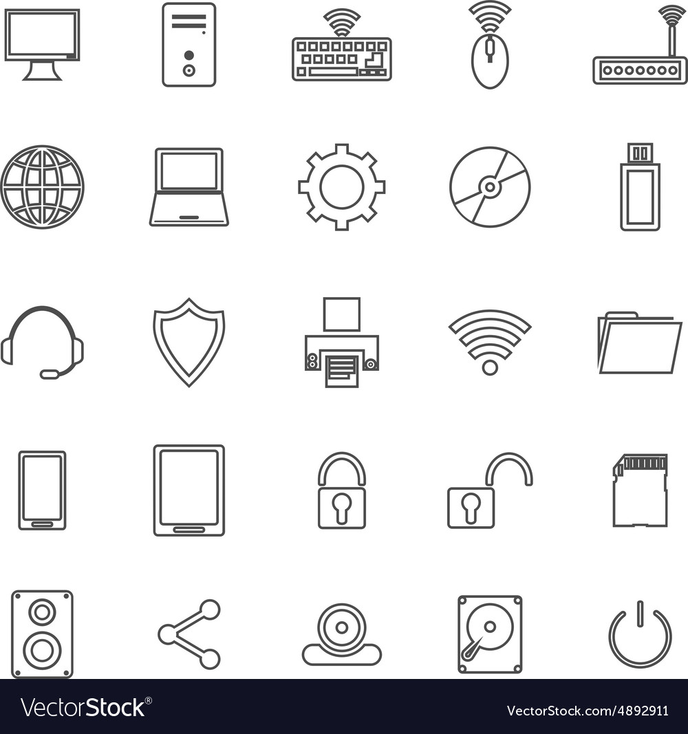 Computer line icons on white background vector