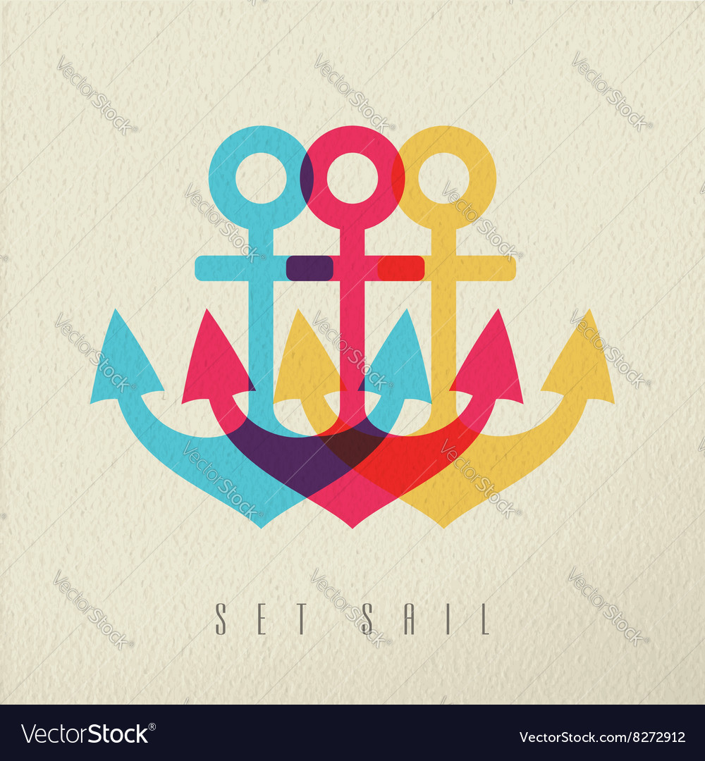 Anchor set sail concept background vector