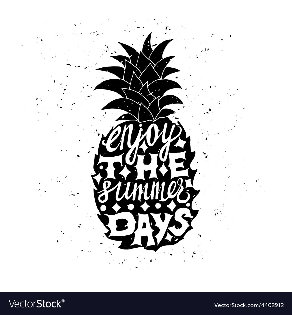 Motivational travel poster with pineapple vector