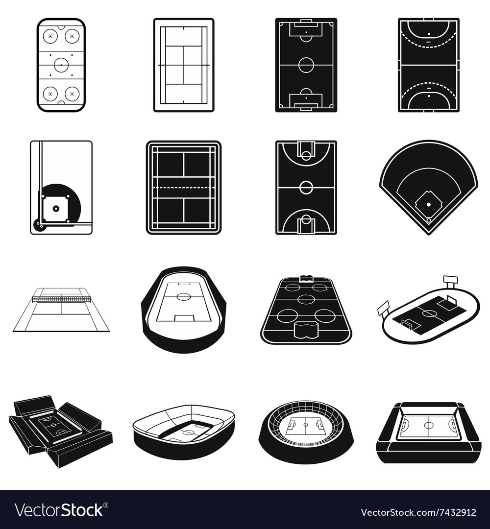 Stadium black simple icons set vector