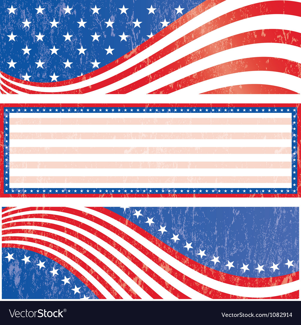 American flag stickers set vector
