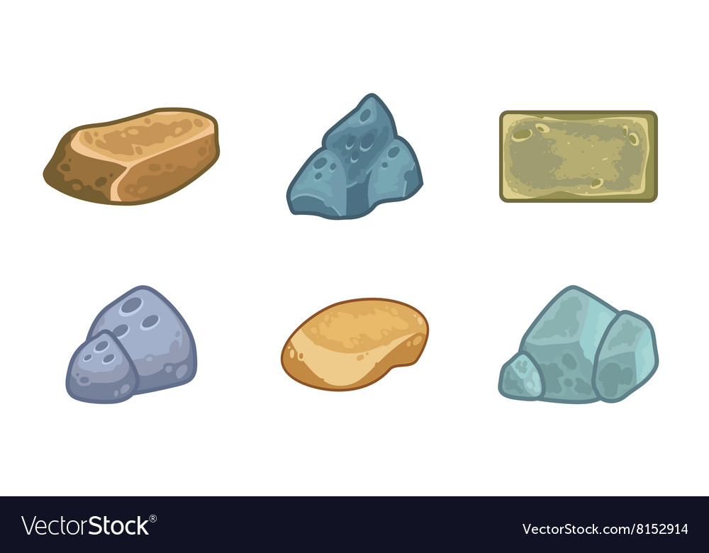 Cartoon stones and minerals set vector