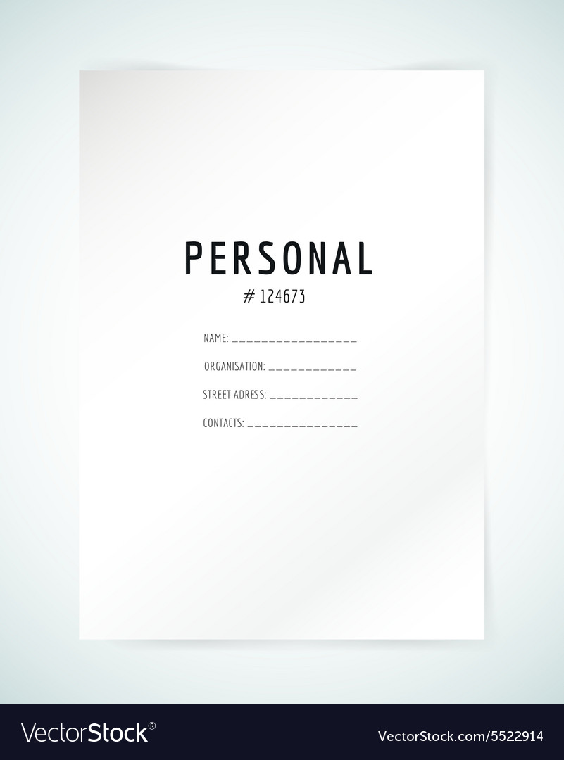 Form blank template business folder paper and vector