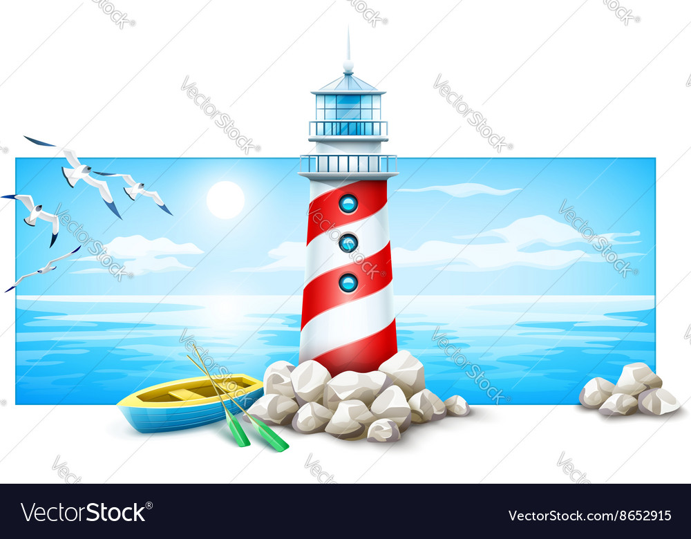 Lighthouse and boat at stones vector