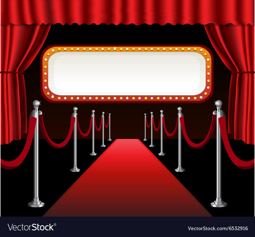 Red carpet movie premiere elegant event red vector