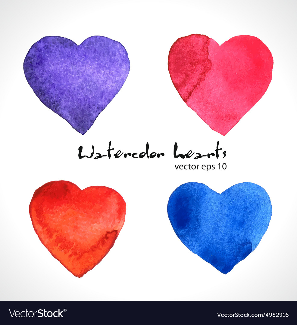 Watercolor of color hearts vector