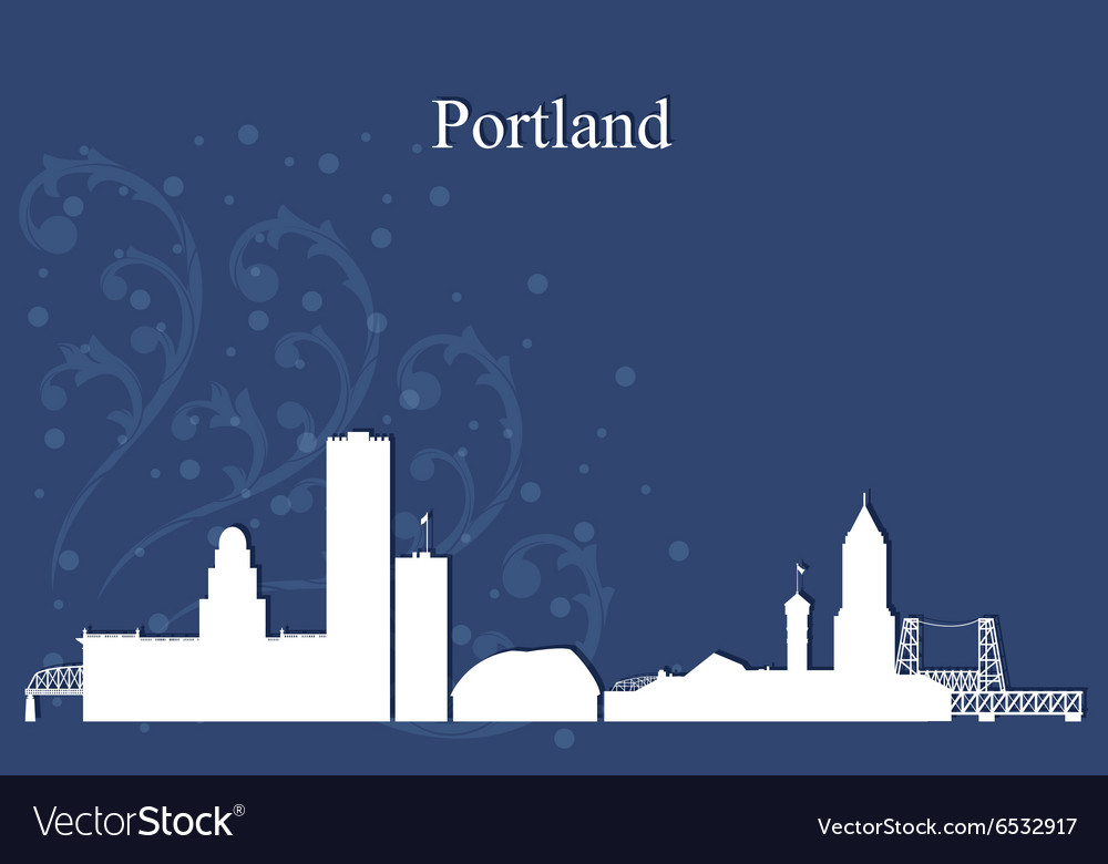 Portland city skyline on blue background vector