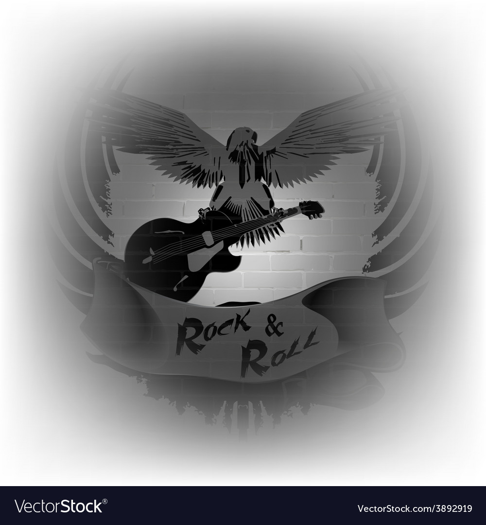 Rock n roll with an eagle on a background of a vector