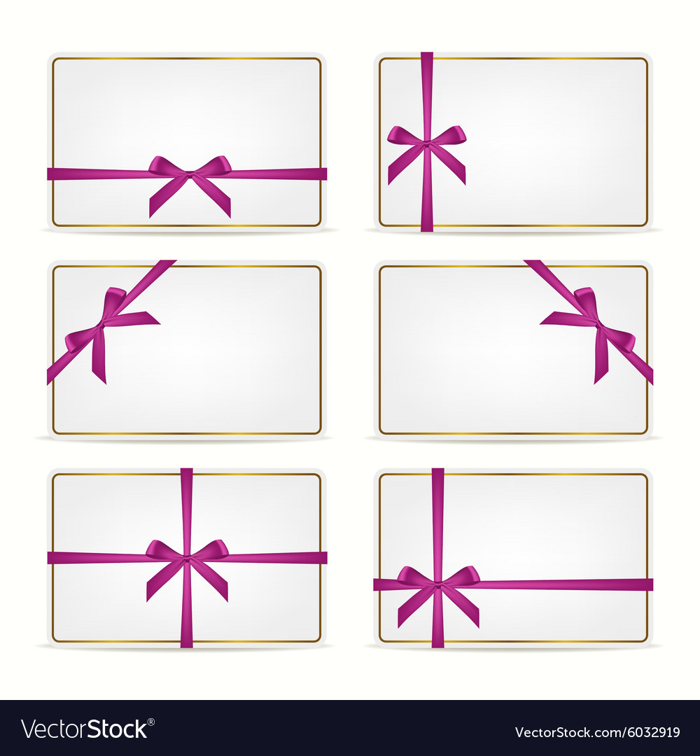 Set of gift cards with ribbons vector