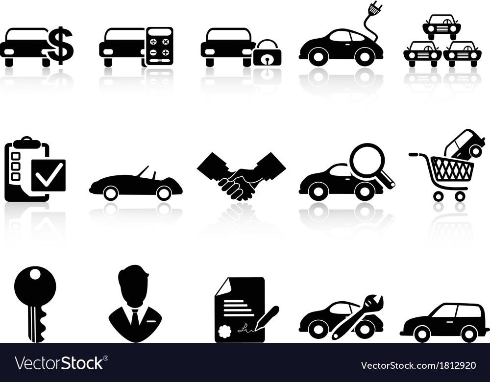 Car dealership icons set vector