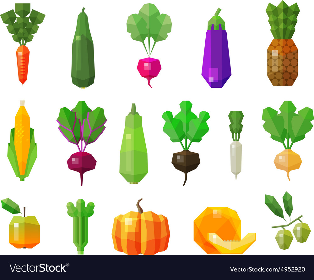 Food vegetables and fruits set icons vector
