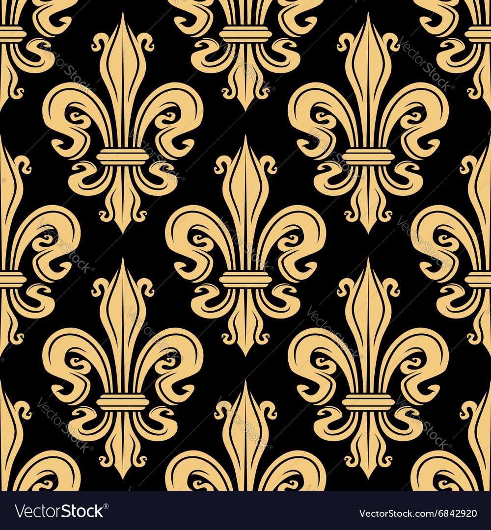 Golden french fleurdelis seamless pattern vector