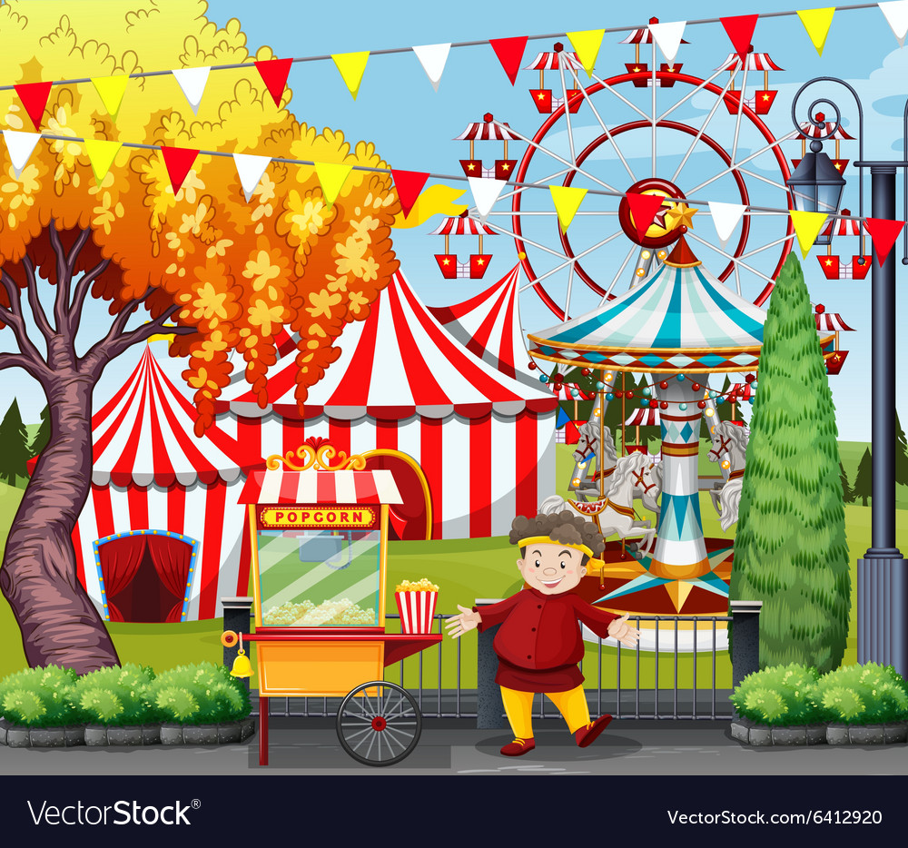 Man selling popcorn at the amusement park vector