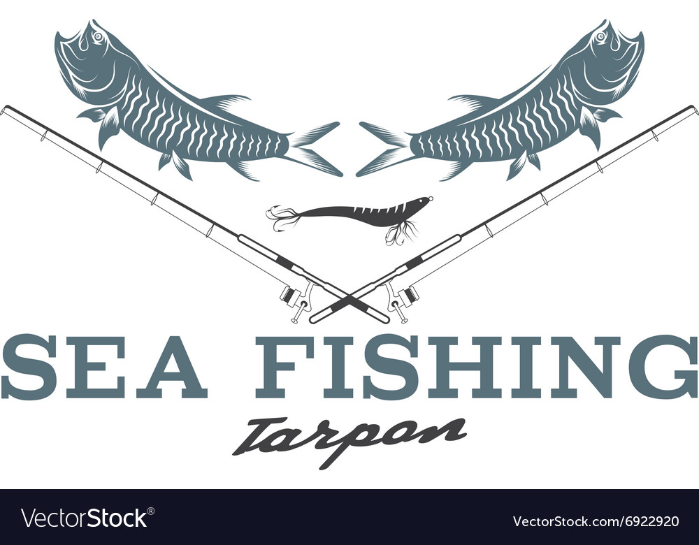 Sea fish vintage with tarpon fish vector