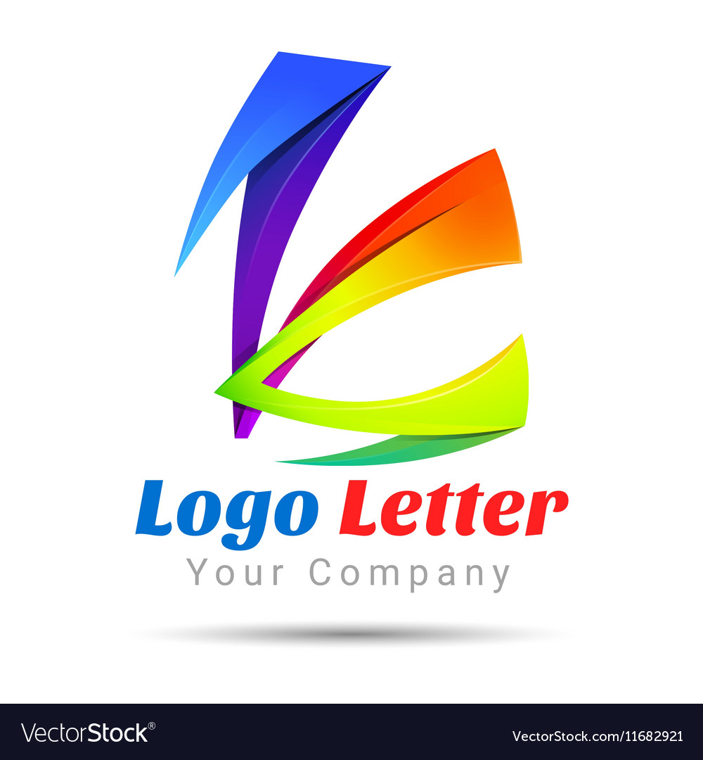 Colorful 3d volume logo design k letter formed by vector