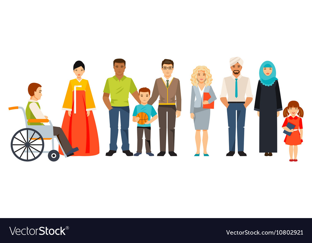 Multicultural society group of different people vector