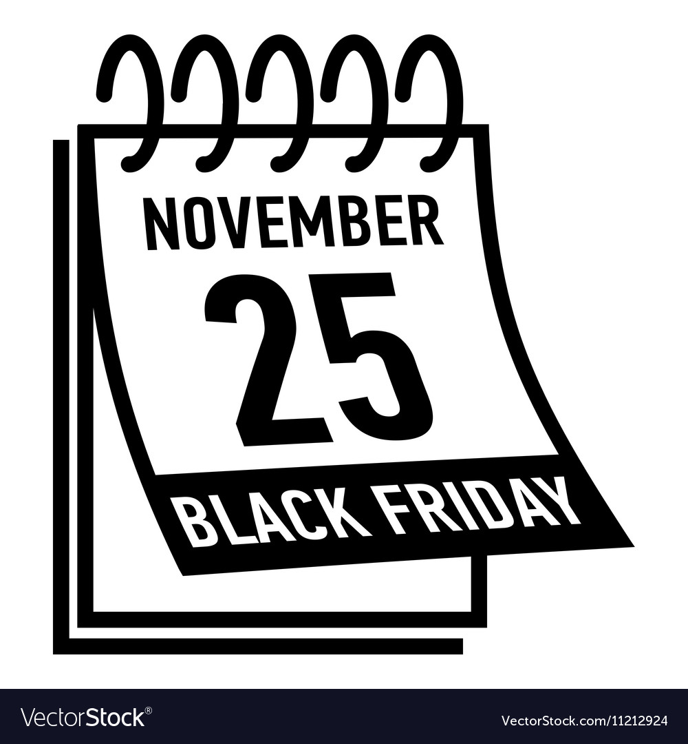 Calendar twenty fifth november black friday icon vector
