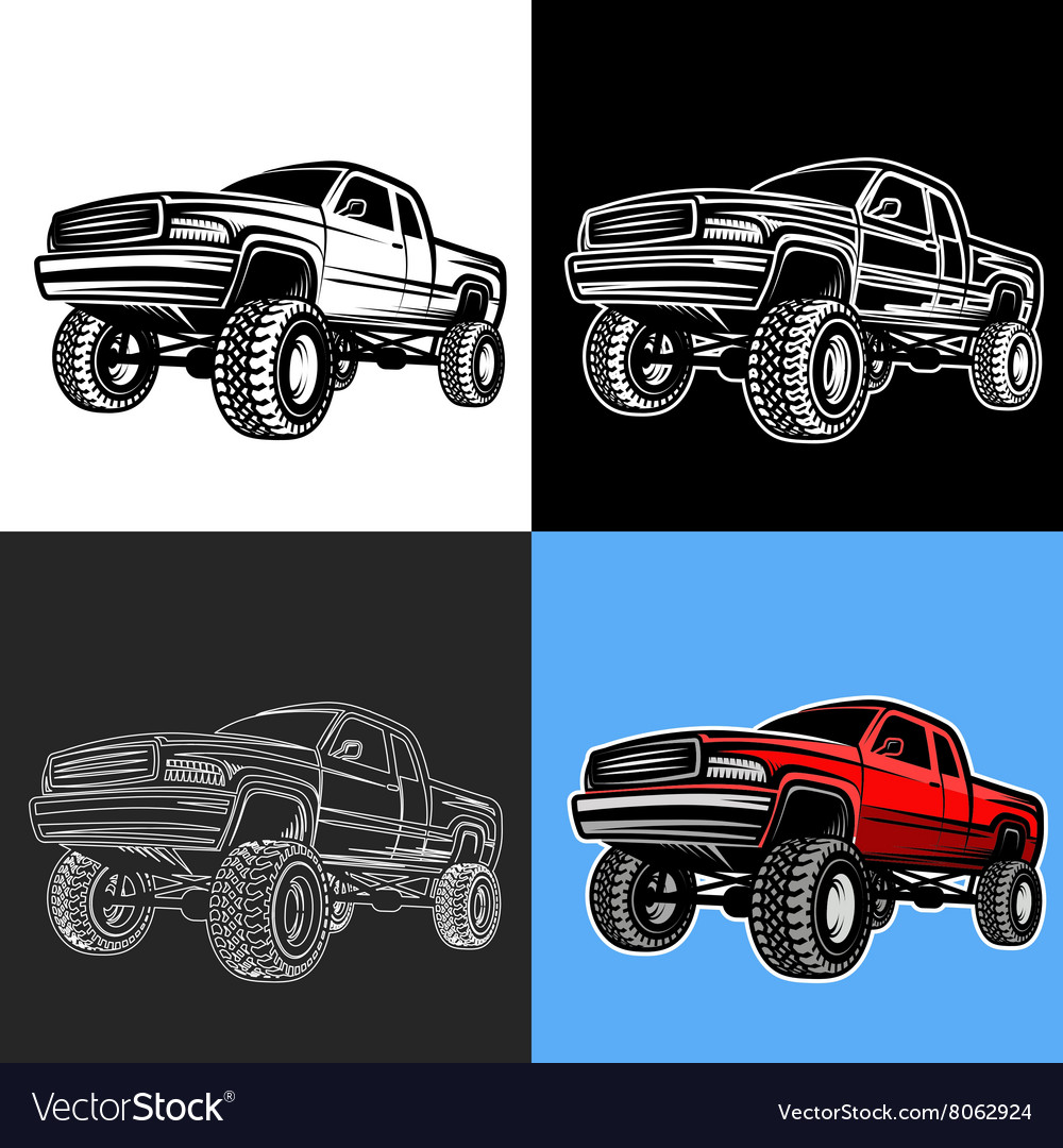 Car truck 4x4 pickup offroad vector