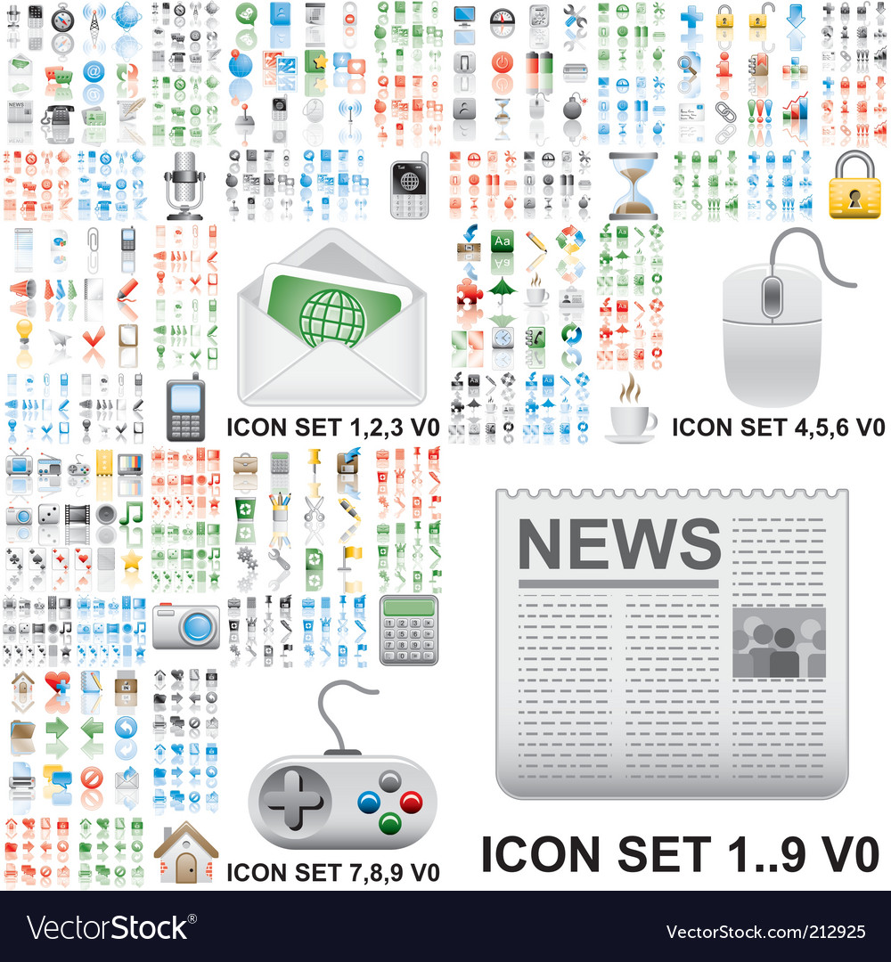 Internet and general icons vector