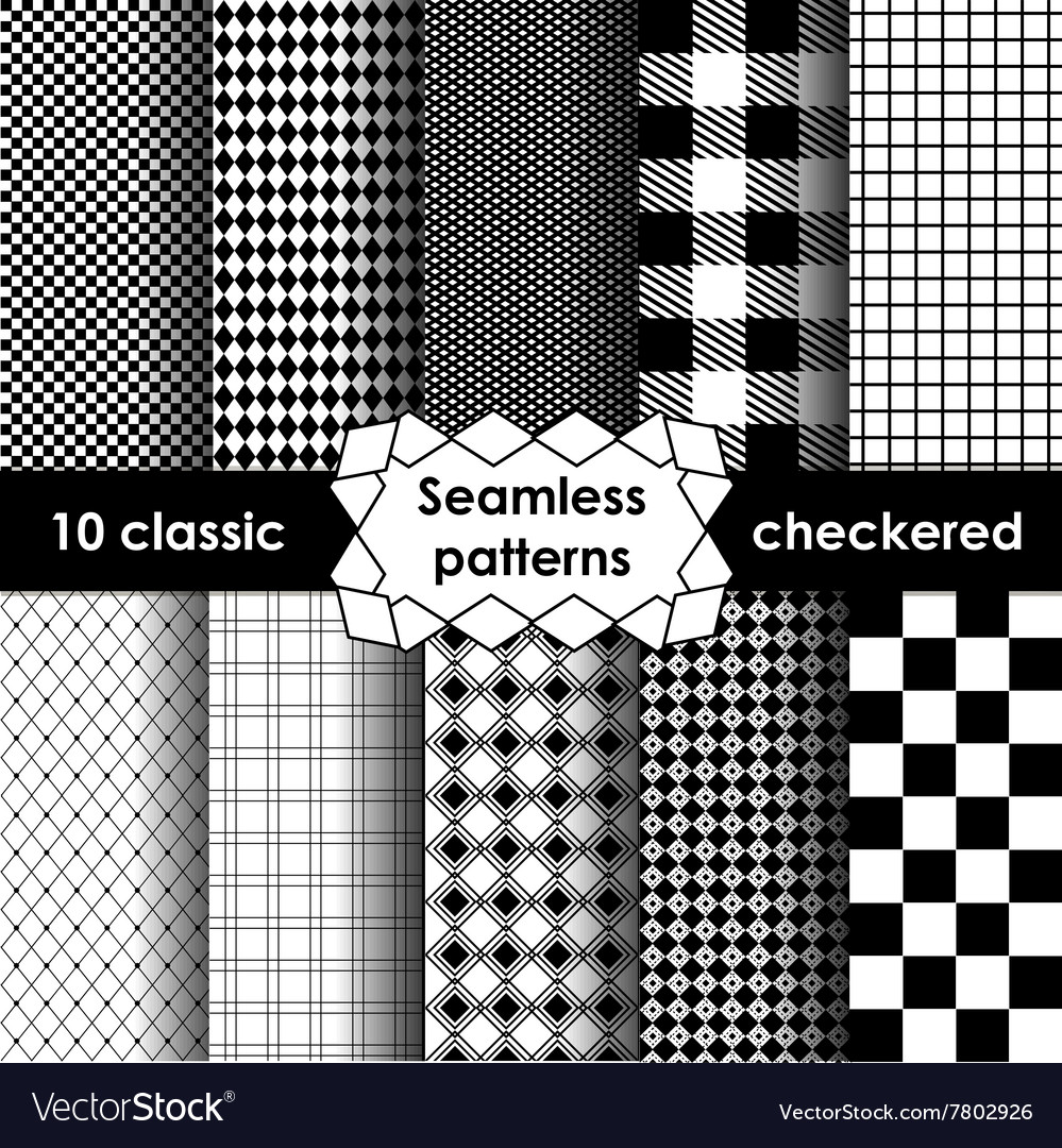 Checkered fabric seamless pattern black and white vector