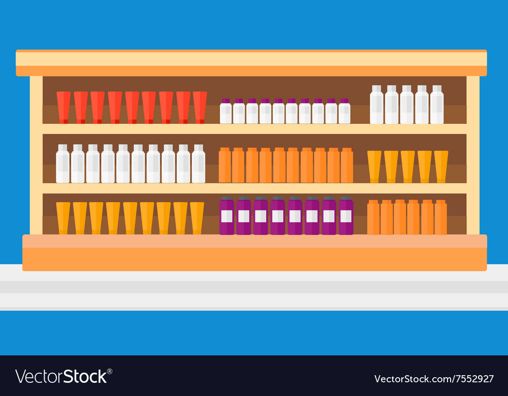 Background of shelves in supermarket with toiletry vector