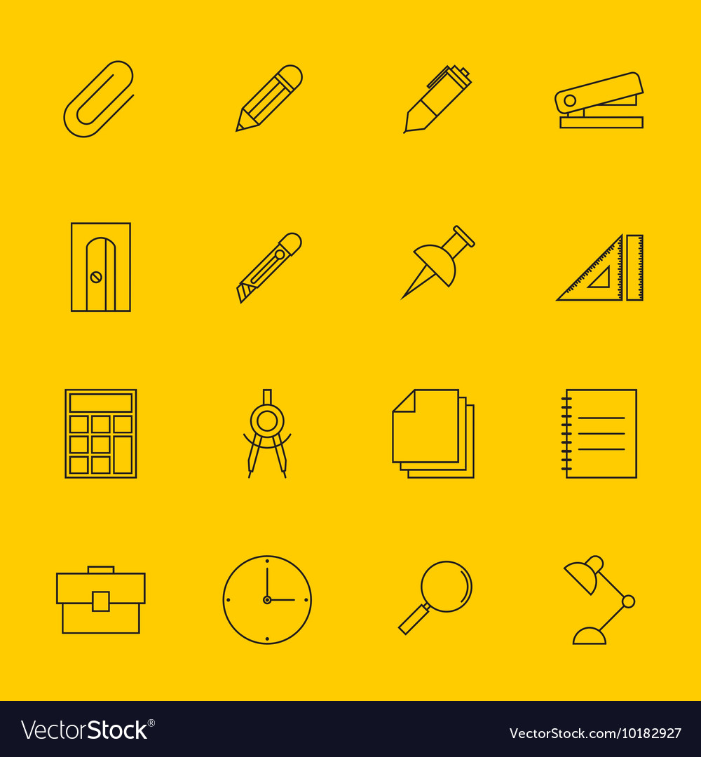 Education stationery icon set outline vector