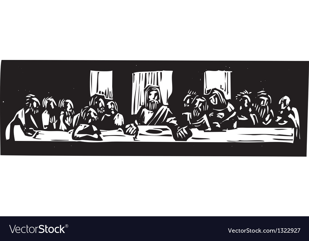 Last supper woodcut vector