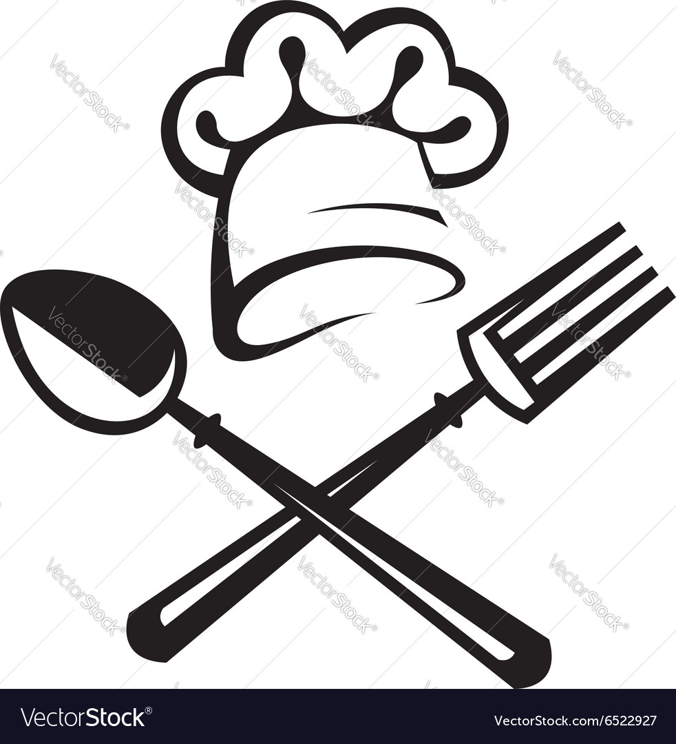 Spoon fork and chef hat vector