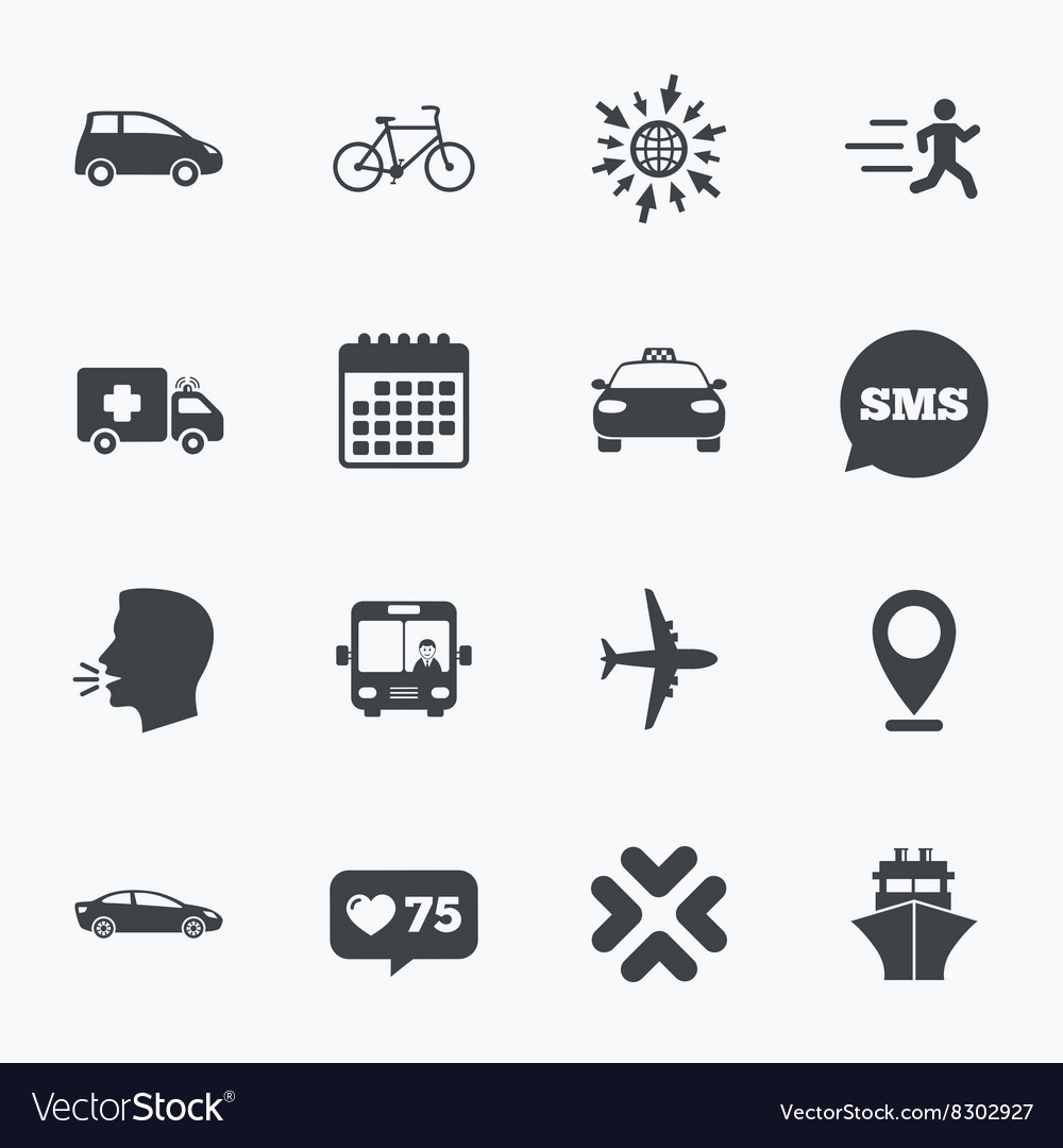 Transport icons car bike bus and taxi signs vector