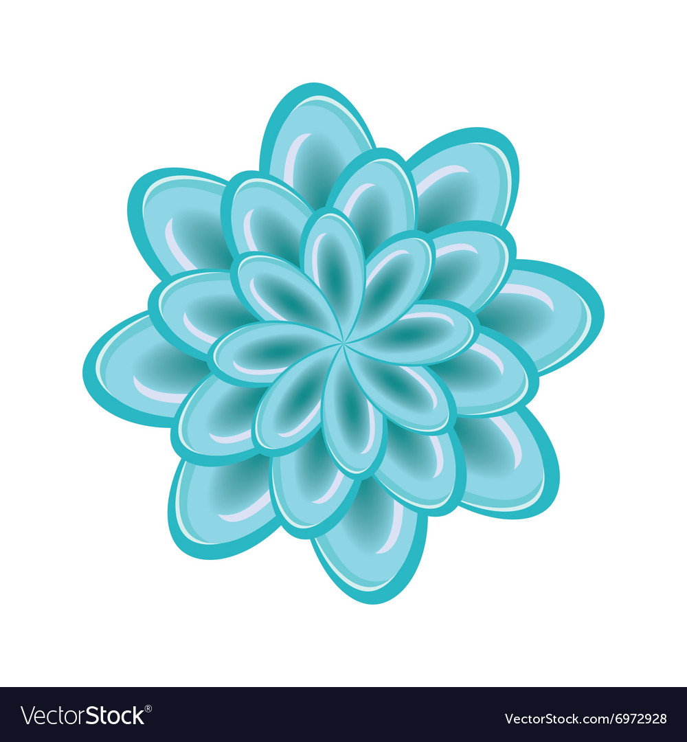 Flower icon unusual glass chrysanthemum floral vector