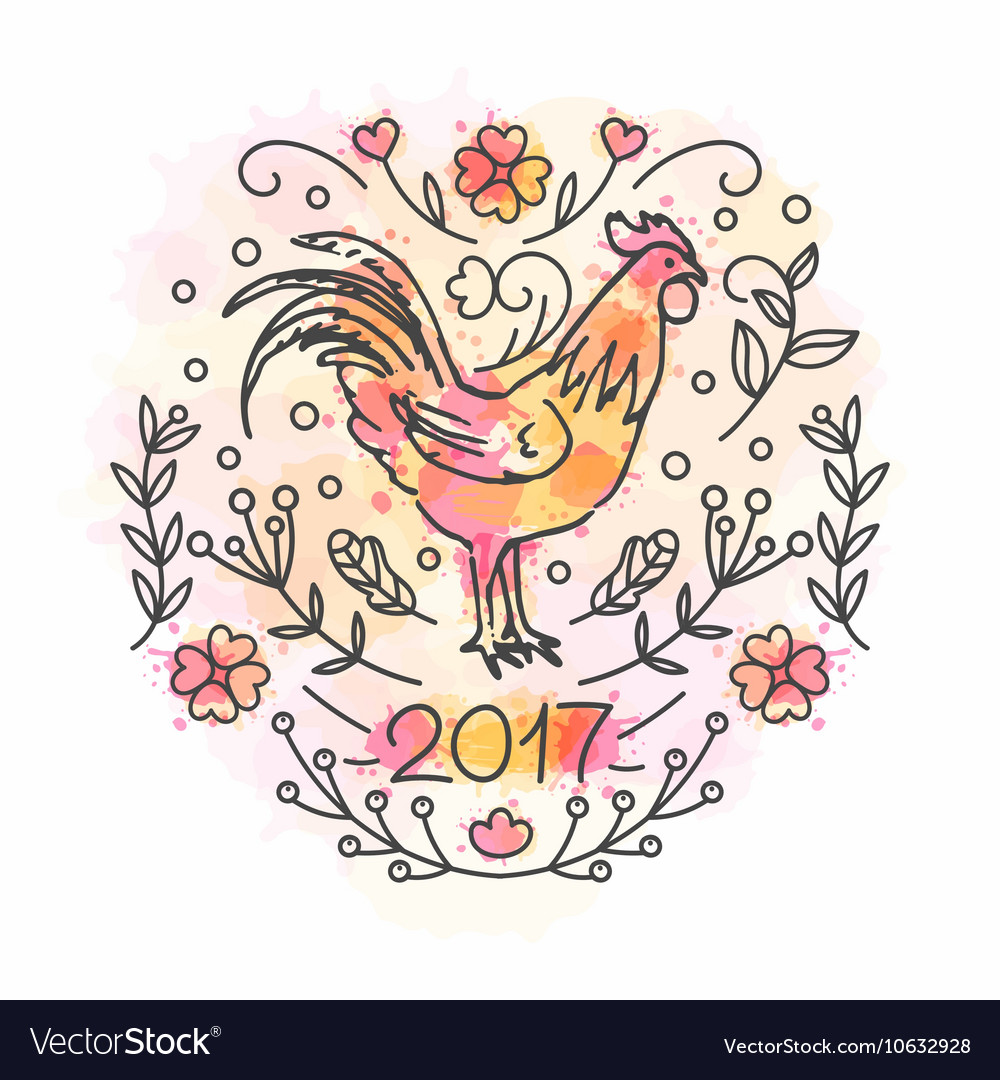 Hand drawn rooster 2017 chinese new year of the vector