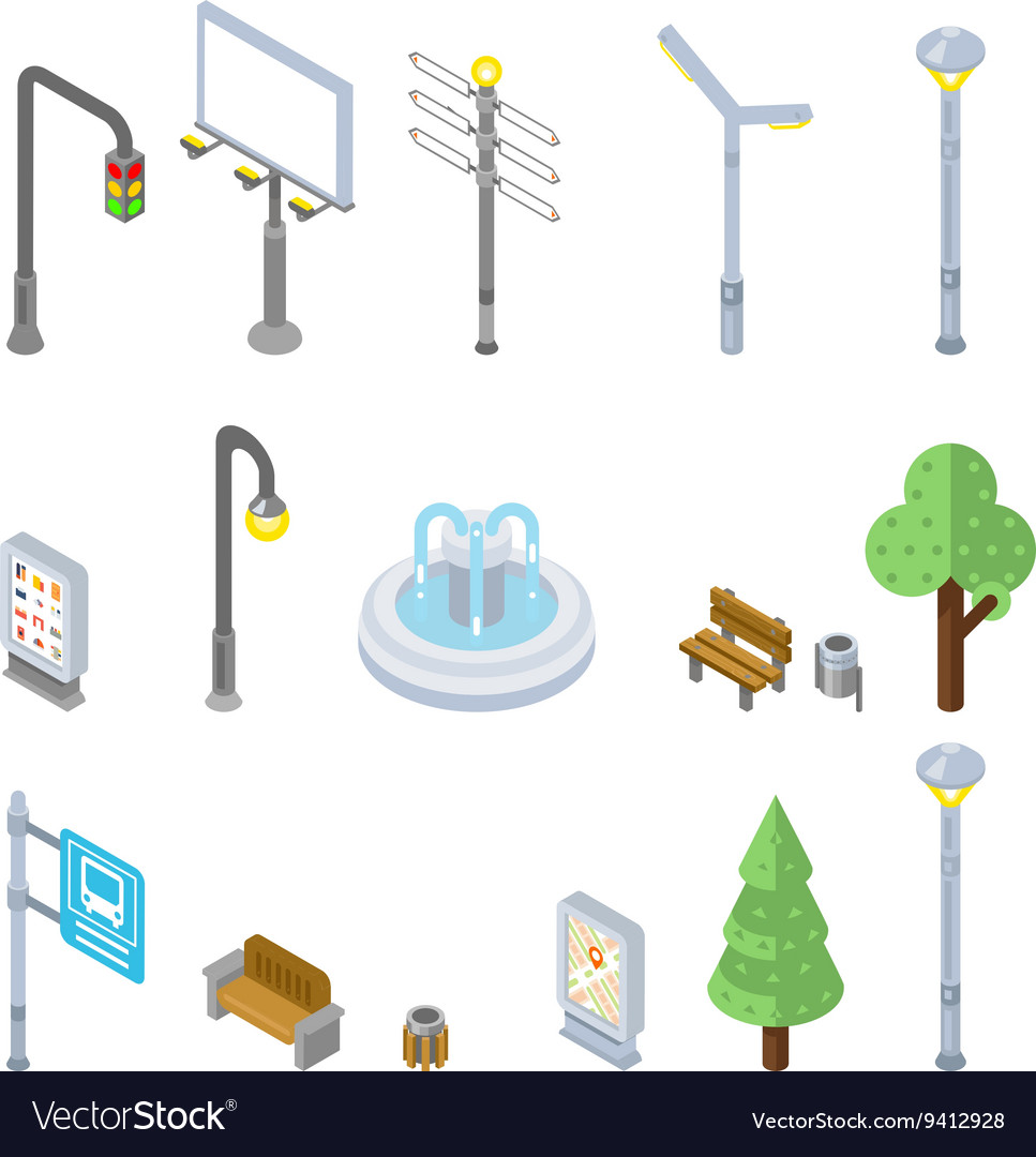 Isometric city street icons 3d urban vector