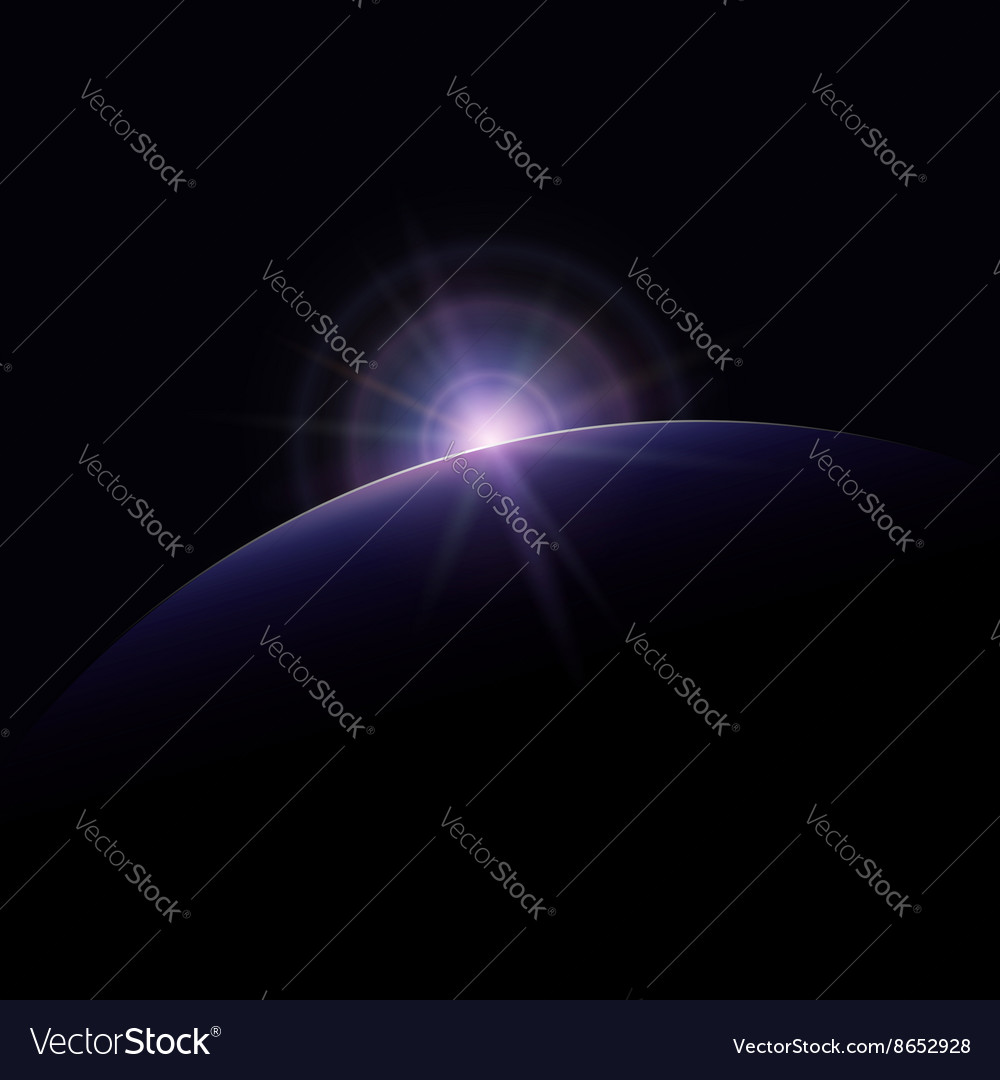 Star rises above the planet vector