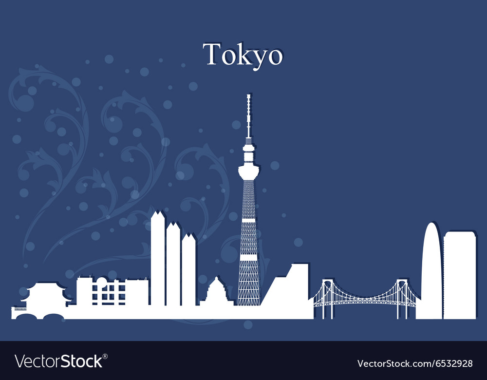 Tokyo city skyline on blue background vector