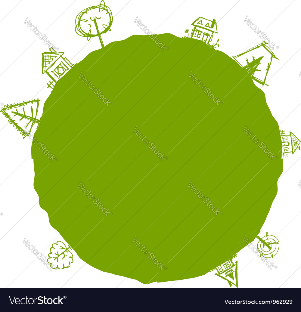 Green frame with houses and trees for your design vector