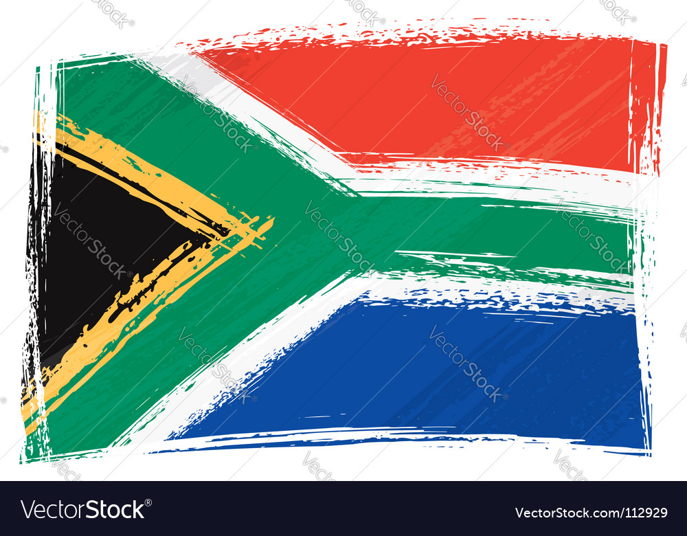 Grunge south africa flag vector