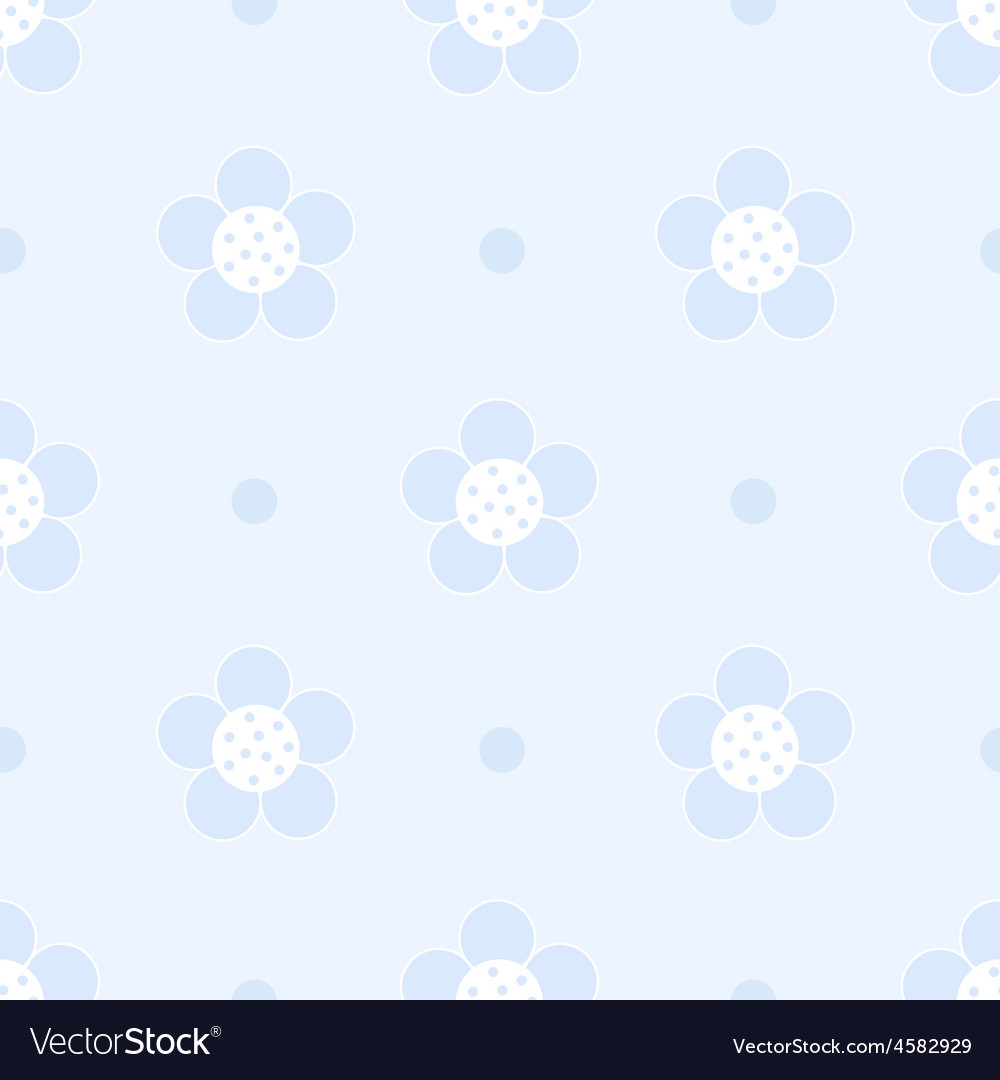 Seamless blue floral pastel pattern for boy vector