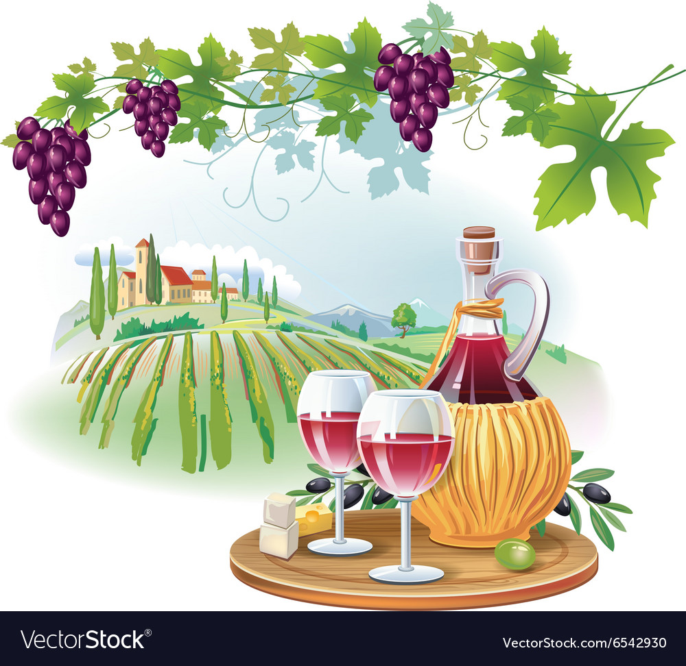 Wine glasses bottle and ripe grapes in vineyard vector