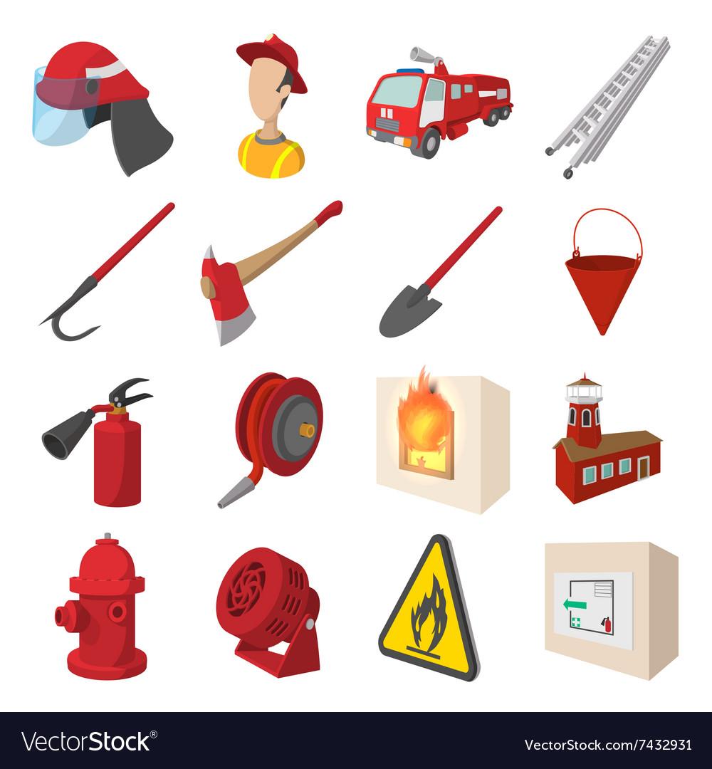 Firefighter cartoon icons set vector