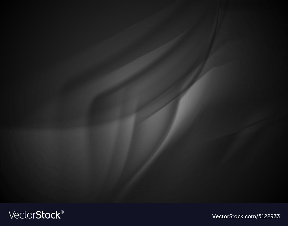 Black smooth silk waves background vector
